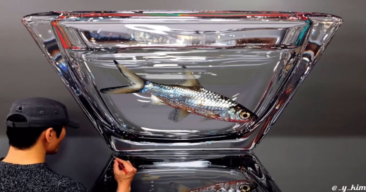 10 Month Time Lapse Video Of The Creation Of A Stunning Hyper-Realistic Goldfish Portrait.